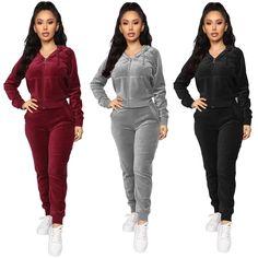 Bodycon Jumpsuit, Jumpsuit Outfit, Ladies Jumpsuit, Velvet Two Piece Set, Velvet Tracksuit, Fashion Pants, Fashion Outfits, Autumn Clothes, Pants For Women