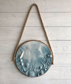 Blue marine wall sculpture with jute holder. Round seashells and starfish bas relief for bathroom decor or mudroom entryway in ocean style Jute, Diy Clay, Clay Crafts, Plaster Art, Free To Use Images, Wall Sculptures, Sculpture Clay, Cold Porcelain, Clay Art