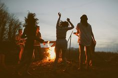 Spring Summer camping shoot- Fun in summer - With friends - Around the campfire with friends - Dancing