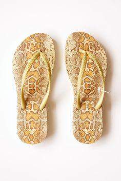 Nami Snake Charmer Gold Flip Flops