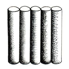 Drawing Techniques: An example of hatching, cross-hatching, contour hatching, scumbling and stippling
