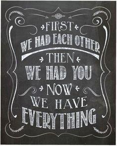 "Nursery Chalk Design,""First We Had Each Other"" Nursery Print, Children Decor, 8 x 10 One Design, Print Design, Typography Art, Lettering, Chalk Design, Pregnant Couple, Nautical Nursery, Baby Boy Nurseries, Nursery Prints"
