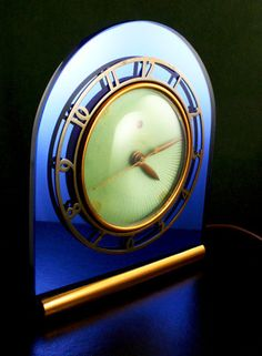 Art deco antique cobalt blue mirrored glass machine age telechron clock fabulous