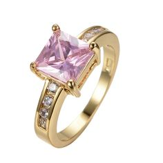 Size 8 Pink Zircon Sapphire Ring 10KT Yellow Gold Filled Fashion Jewelry For Women anel de ouro RY0254 Alternative Measures