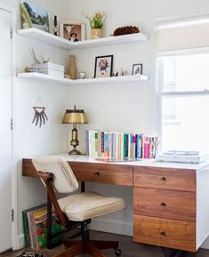 Workspace that takes up a small amount of room but offers plenty of storage