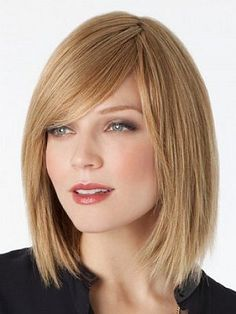 Medium straight bob hairstyles with bangs for women with blonde hair