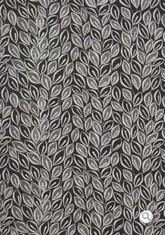 Leaves Fabric Dark Grey with White