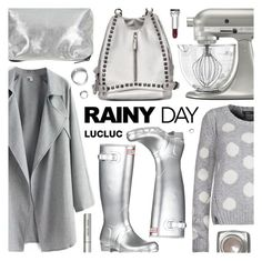 """""""Lucluc Rainy day Grey Coat"""" by pastelneon ❤ liked on Polyvore featuring Topshop, Dex, KitchenAid, Hunter and Bobbi Brown Cosmetics"""