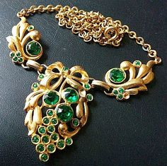 Art Nouveau Necklace Pendant Green by BrightgemsTreasures on Etsy