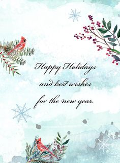Watercolor Christmas Cards - Happy Holidays and best wishes for the new year - Winter snowflakes with cardinals, berries and branches [set of 5 cards includes kraft envelopes]  Looking for some Christmas cards this holiday season? How about a set of Watercolor Christmas cards with kraft paper envelopes? A watercolor design creates the scene of winter with snowflakes, evergreen boughs, berries and cardinals. Happy Holidays and best wishes for the new year is printed on the front and the…