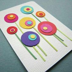 ideas diy paper flowers for cards punch art Kids Crafts, Diy And Crafts, Art Carte, Mothers Day Crafts, Preschool Art, Spring Crafts, Flower Cards, Diy Cards, Scrapbook Cards