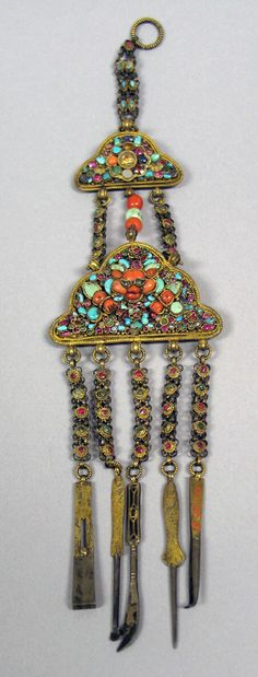 Tibet   Chatelaine; gold with precious and semi precious stones   17th - 19th century