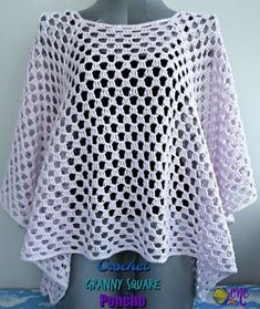 A free pattern for the Crochet Granny Square Poncho. The poncho is easy to adjust in size from neckline to finished length. It's crocheted in a cotton yarn to give it a beautiful drape.