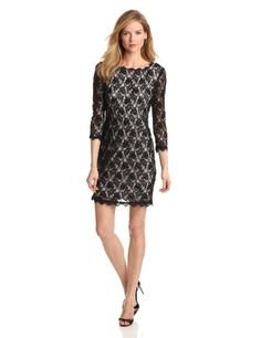 Adrianna Papell Women's Long Sleeve Beaded Lace Dress, Dusty Pink, 12