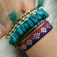 "HPColor splash BOHO bracelet NWOT Host Pick Grab this playful bracelet and pair it with your favorite cut off shorts and top! So colorful!  Brand new Bracelet  features 4 rows of different textures, chain, ribbon, faux turquoise stone, tassels and more. Magnetic silver metal clasp Multi color Approx 7"" Jewelry Bracelets"