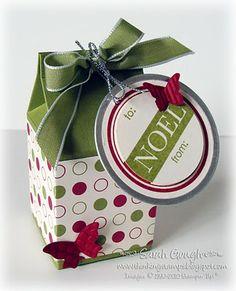 Cute Christmas  Sarah Gough www.thinkingstamps.com Stampin Up Christmas, Christmas Bags, Christmas Wrapping, Christmas Projects, All Things Christmas, Mini Milk, Milk Box, Diy Gift Box, Paper Gift Box