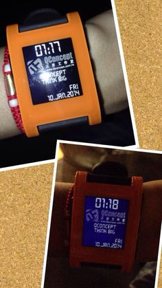 Orange Pebble with QConcept Pebble Watch face ^^