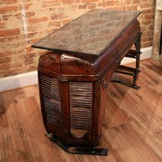Otis Table by Yesterday Reclaimed | 50's Ferguson tractor hood Car Furniture, Automotive Furniture, Automotive Decor, Furniture Projects, Furniture Plans, Garden Furniture, Bedroom Furniture, Outdoor Furniture, Repurposed Furniture
