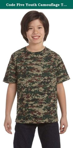 Code Five Youth Camouflage T-Shirt, Large, GREEN DIGITAL. taped shoulder-to-shoulder; double-needle hemmed sleeves and bottom; bleed-resistant ink is recommended when printing on our camouflage products; Urban Woodland is sewn with 100% cotton thread; 2% of sales go to Children of Fallen Soldiers Relief Fund and Fisher HouseTM; 5.5 oz., 100% cotton print jersey; ribbed crew neck;.