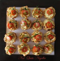 Ricotta, chive and tomato tarts recipe @ Not Quite Nigella Tart Recipes, Appetizer Recipes, Cooking Recipes, Tapas, Tomato Tart Recipe, High Tea Food, Cheddar, Mini Tart, Savory Tart