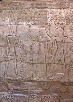 Ramesses II with Hathor and Amun
