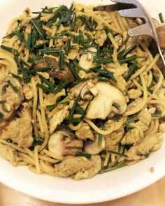 Little Corner of Mine: Stir-fried Spaghetti with Mushroom, Eggs and Flowe...