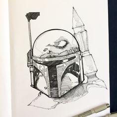 Star Wars fan art, Boba Fett,   Star Wars, ink drawing, sketchbook, moleskin, line work
