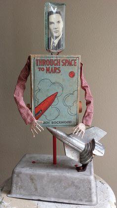 Altered Antique Book Automata Assemblage Sculpture by Bibliomaton at Esty. Handmade item Materials: vintage portrait, wood, cigar box, antique book, vintage book, medicine bottle, vintage bottle