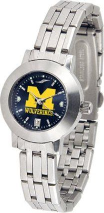 "Michigan Wolverines NCAA AnoChrome ""Dynasty"" Ladies Watch by SunTime. $92.11. Scratch Resist Face. Date Display. Stainless Steel Case. Elegant design for the modern woman who wants to show their Michigan Wolverines spirit! The dial is presented in a sleek, stainless steel case and bracelet that rests fashionably yet comfortably across the wrist. Features a convenient date display, quartz accurate movement and a scratch resistant mineral crystal face.The AnoChrome dial option i..."