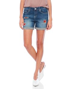 Seven7 Jeans Plaid Denim Shorts