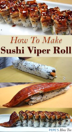 Authentic sushi recipe straight from a Master Sushi Chef himself. It's a sushi roll with a BBQ eel on top and its called Sushi Viper Roll. Eel Recipes, Sushi Roll Recipes, Cooking Recipes, Cooked Sushi Recipes, Eel Sushi, Salmon Sushi, Cooking Sushi, Sushi Chef, Sushi Recipes