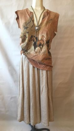 Vtg BohO Cowgirl Altered T Shirt & Linen Skirt Horses PRAIRIE Southwest Gypsy M #Unbranded #Casual