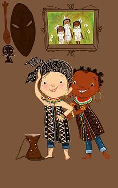 """""""Tanya and Mya's playdate would soon expire , but there lasting friendship never would.  Good friends are a joy forever!"""" Illustrator Vanessa B.Newton... MYA BLACK AND WHITE FRIENDS AND HER NAME IS ACTUALLY MYA I'M CRYING THIS IS SO GREAT SHE'S TEACHING THE WHITE GIRL ABOUT AFRICAN CULTURE"""