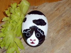 Guinea Pig black and white pocket pet rock for adoption Christmas stocking stuffer hand painted rocks by Rockartiste on Etsy. $15.00, via Etsy.
