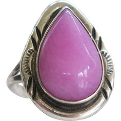 Sterling Navajo Nakai Pink Sugilite Ring Vintage Silver from Cousins Antique on Ruby Lane