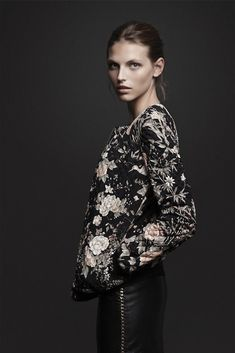 Zara - love the quilted floral jacket and leather pencil