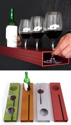 Wait staff would never spill wine again! Wood Projects, Woodworking Projects, Wine Craft, In Vino Veritas, Wine And Beer, Wine And Spirits, Wine Gifts, Wine Cellar, Wine Tasting