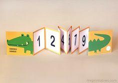 Ensinando a contar - Linha de Números Formato de Crocodilo