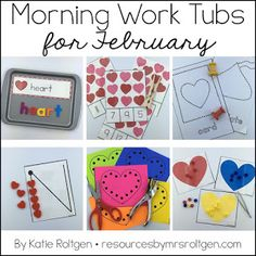 February Morning Work Tubs | Here is a pack of 20 morning tub activities for your Kindergarten students. You'll need a few supplies - like pipe cleaners, playdough, and counting bears - but then you're ready for great learning to take place all month. You get word building, clip it cards, transferring, cutting, tracing, uppercase & lowercase letters, missing numbers, onset/rime, ten frames, counting, 2D shapes, addition, subtraction, AND MORE! Kinder approved!