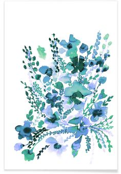 Amelia Floral Blue Green as Premium Poster by Amy Sia | JUNIQE