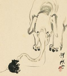 A gentle-looking elephant reaches out its trunk to a tanuki )raccoon dog) in this painting, believed to have been drawn impromptu by request at a party, but the artist Kawanabe Kyōsai before Hokusai, Oriental, Japanese Painting, Japan Art, Japanese Artists, Eccentric, Animal Paintings, Pet Birds, Cute Cats