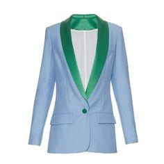 Racil Miami single-breasted tuxedo blazer ($490) ❤ liked on Polyvore featuring outerwear, jackets, blazers, light blue, tux jacket, retro jackets, lightweight jacket, tuxedo blazer and blue dinner jacket