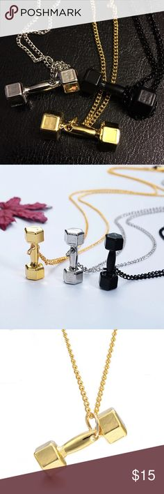 Unisex Fitness Dumbbells Men/ Women Pendant Fashion Noble and luxurious Gold/silver/black Fitness dumbbell Couple necklace&pendants personality Jewelry for men women Queen Esther etc Accessories Jewelry
