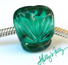 seashell scallop sculpted big hole glass bead by HollysFollyGlass, $9.99