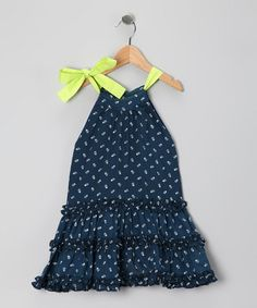 Take a look at this Indigo & Lime Pop Tia Dress - Infant, Toddler & Girls by Sophie Catalou on #zulily today!