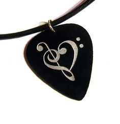Music Heart Guitar Pick Necklace black by kahlaw on Etsy, $9.95