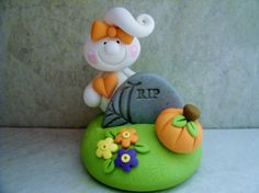 Ghost Gravestone RIP Polymer Clay by countrycupboardclay