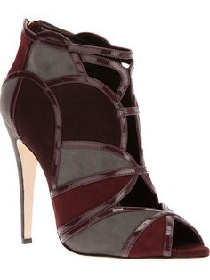 Burgundy Marsala Color Booties with High Heel Stiletto