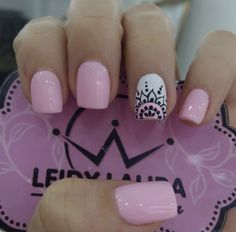 Uñas decoradas Love Nails, Pink Nails, Pretty Nails, My Nails, Hello Nails, Cute Acrylic Nails, Stylish Nails, Perfect Nails, Nails Inspiration