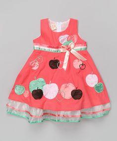 Coral Apple A-Line Dress - Toddler & Girls